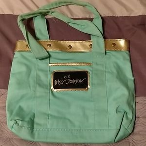Tiny Mint Green & Gold Betsey Johnson Tote Bag
